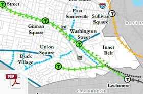 Map of Somerville Bike Routes