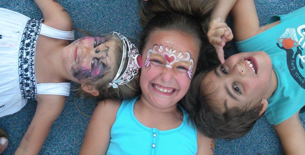 three young Somerville MA children in facepaint